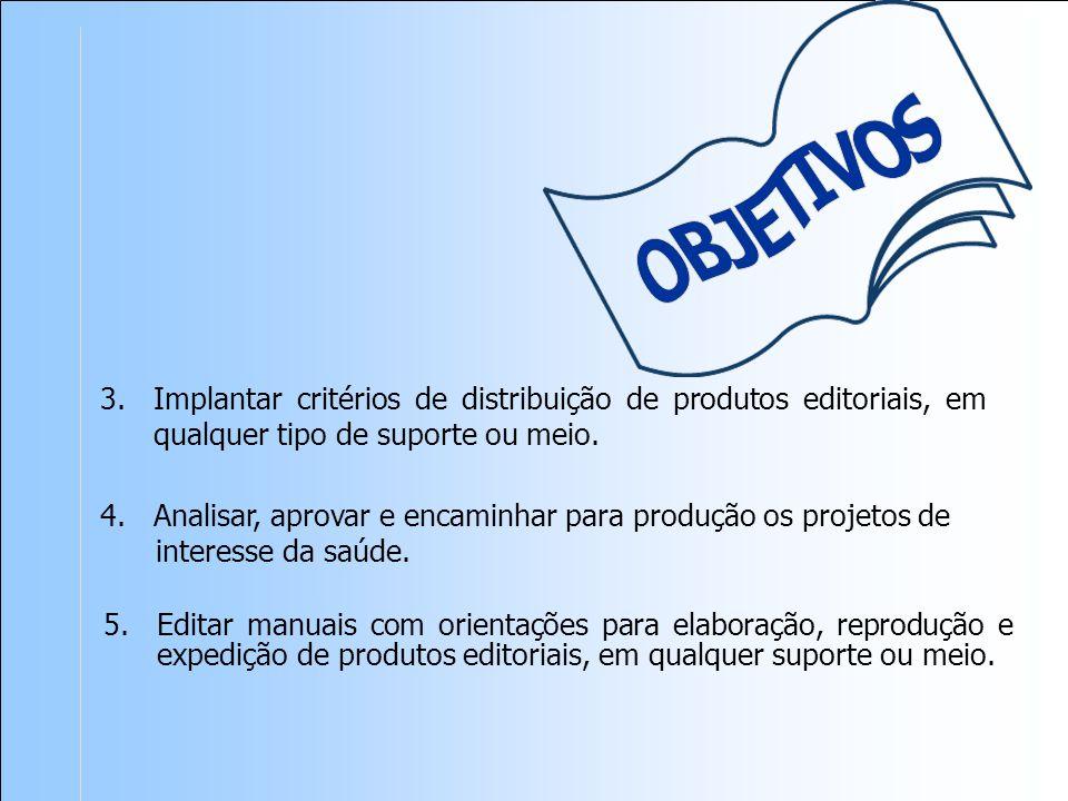 3.Implantar critérios de distribuição de produtos editoriais, em qualquer tipo de suporte ou meio.