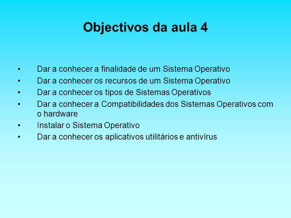 Objectivos da aula 4 Dar a conhecer a finalidade de um Sistema Operativo Dar a conhecer os recursos de um Sistema Operativo Dar a conhecer os tipos de Sistemas Operativos Dar a conhecer a Compatibilidades dos Sistemas Operativos com o hardware Instalar o Sistema Operativo Dar a conhecer os aplicativos utilitários e antivírus