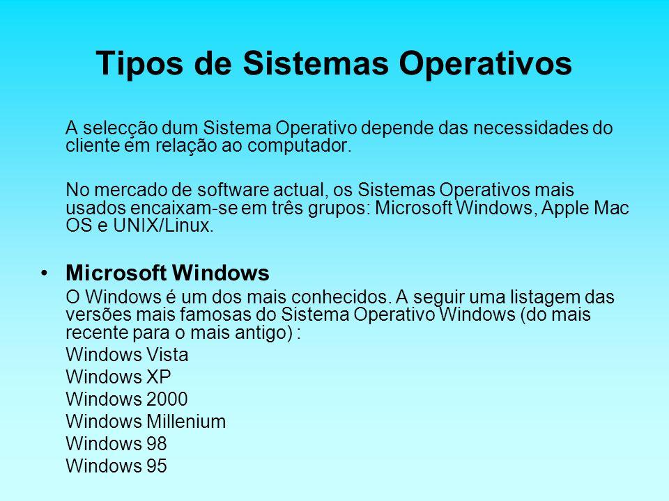 Tipos de Sistemas Operativos A selecção dum Sistema Operativo depende das necessidades do cliente em relação ao computador.