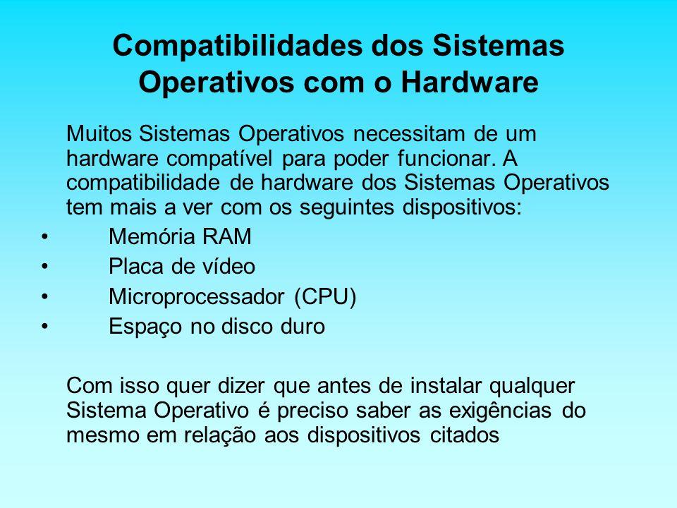 Compatibilidades dos Sistemas Operativos com o Hardware Muitos Sistemas Operativos necessitam de um hardware compatível para poder funcionar. A compat