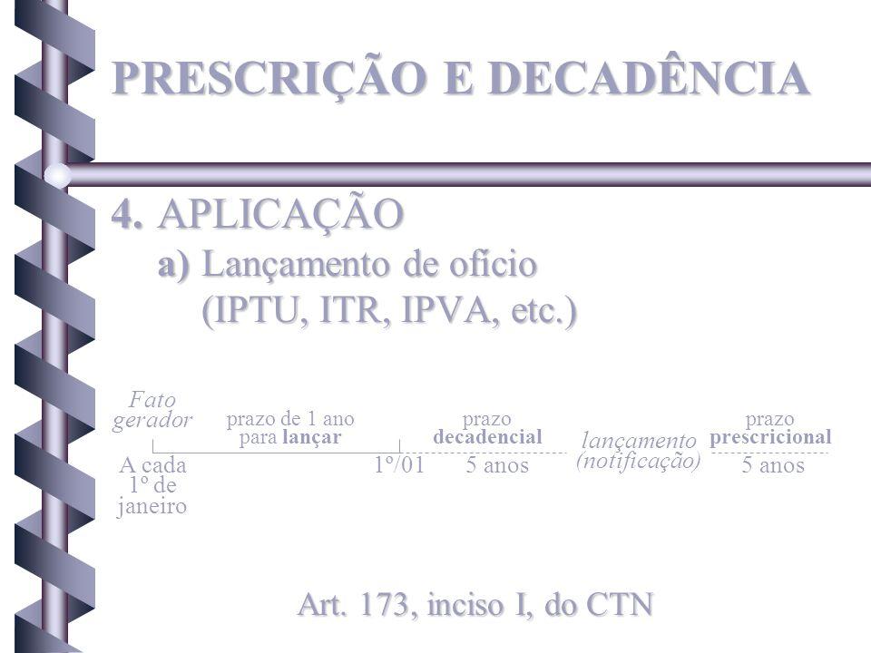 4.APLICAÇÃO a)Lançamento de ofício (IPTU, ITR, IPVA, etc.) Art. 173, inciso I, do CTN Fato gerador prazo de 1 ano para lançar prazo decadencial prazo