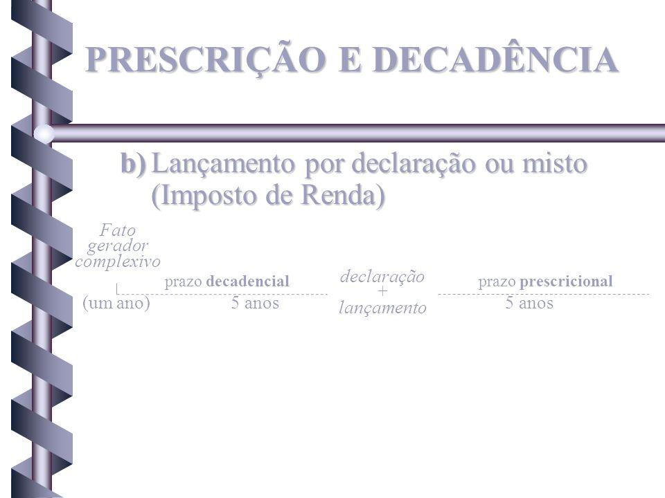 b)Lançamento por declaração ou misto (Imposto de Renda) Fato gerador complexivo prazo decadencialprazo prescricional (um ano) declaração + lançamento