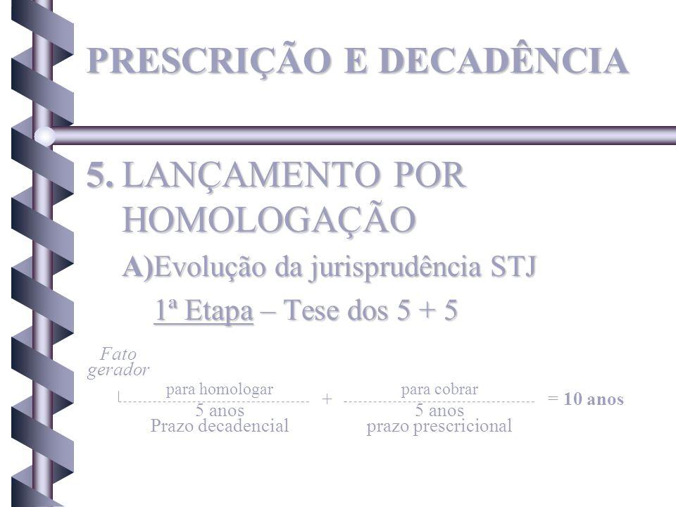 5.LANÇAMENTO POR HOMOLOGAÇÃO A)Evolução da jurisprudência STJ 1ª Etapa – Tese dos 5 + 5 Fato gerador para homologarpara cobrar + 5 anos Prazo decadenc
