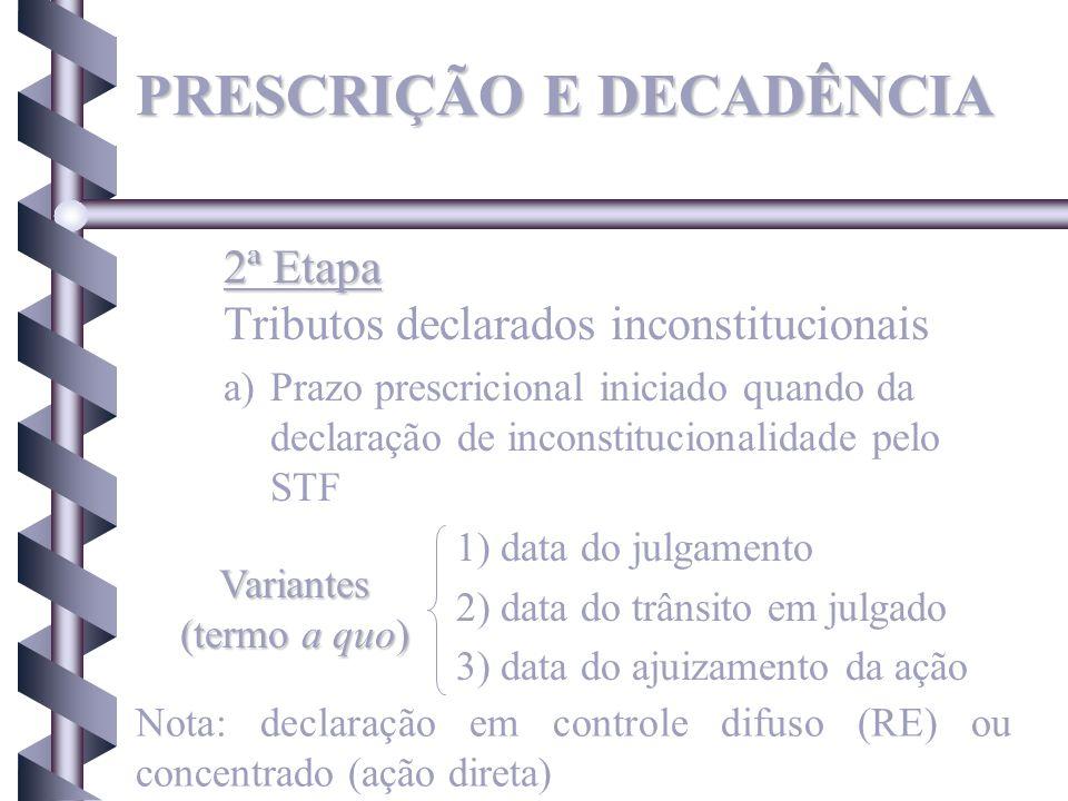2ª Etapa 2ª Etapa Tributos declarados inconstitucionais a)Prazo prescricional iniciado quando da declaração de inconstitucionalidade pelo STF 1) data