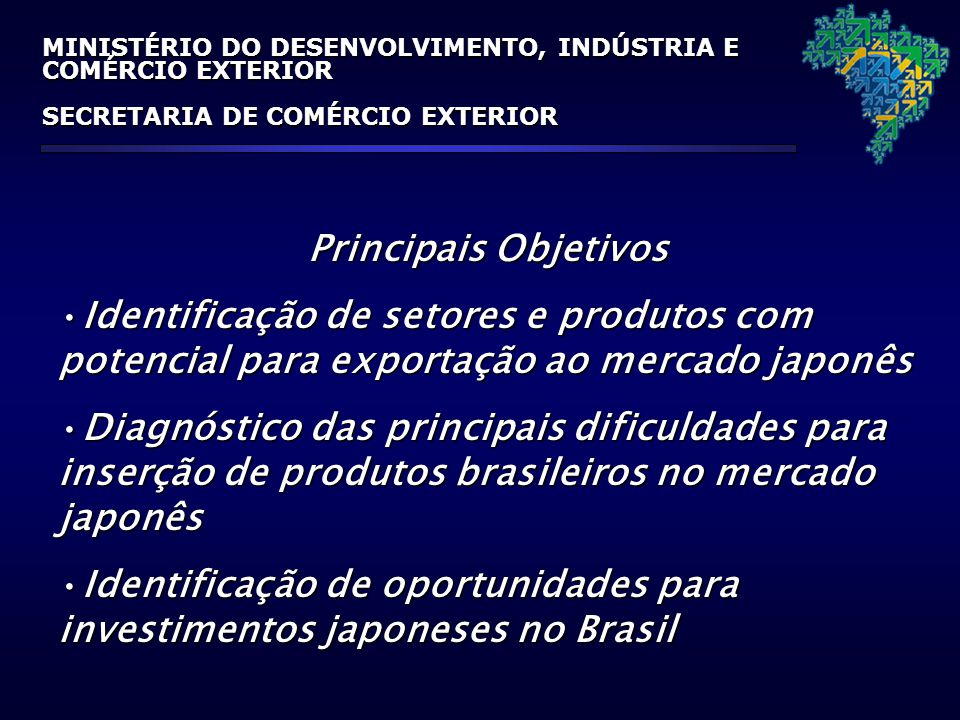 MINISTÉRIO DO DESENVOLVIMENTO, INDÚSTRIA E COMÉRCIO EXTERIOR SECRETARIA DE COMÉRCIO EXTERIOR Principais Objetivos Identificação de setores e produtos