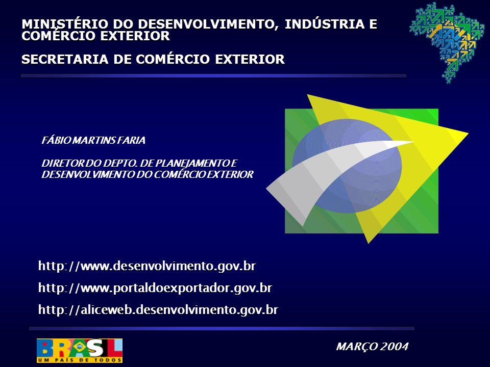 http://www.desenvolvimento.gov.brhttp://www.portaldoexportador.gov.brhttp://aliceweb.desenvolvimento.gov.br MARÇO 2004 MINISTÉRIO DO DESENVOLVIMENTO,