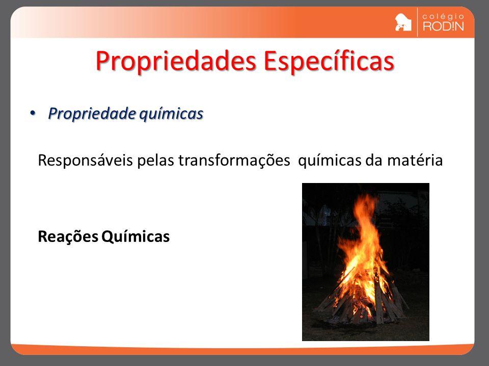 Propriedades Específicas Propriedade químicas Propriedade químicas Responsáveis pelas transformações químicas da matéria Reações Químicas