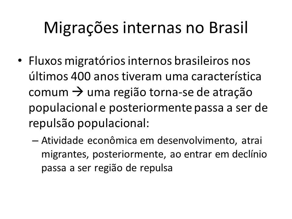 Migrações internas no Brasil Fluxos migratórios internos brasileiros nos últimos 400 anos tiveram uma característica comum uma região torna-se de atra
