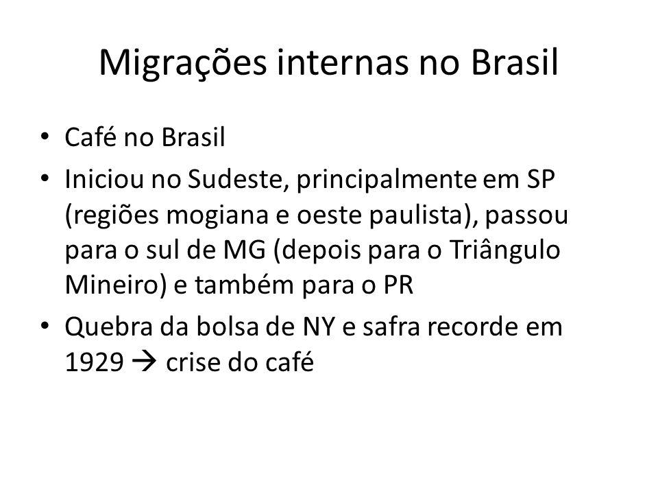 Migrações internas no Brasil Café no Brasil Movimentou a economia da região sudeste incentivou a industrialização, principalmente em SP atração de brasileiros de outras regiões (principalmente nordestinos)
