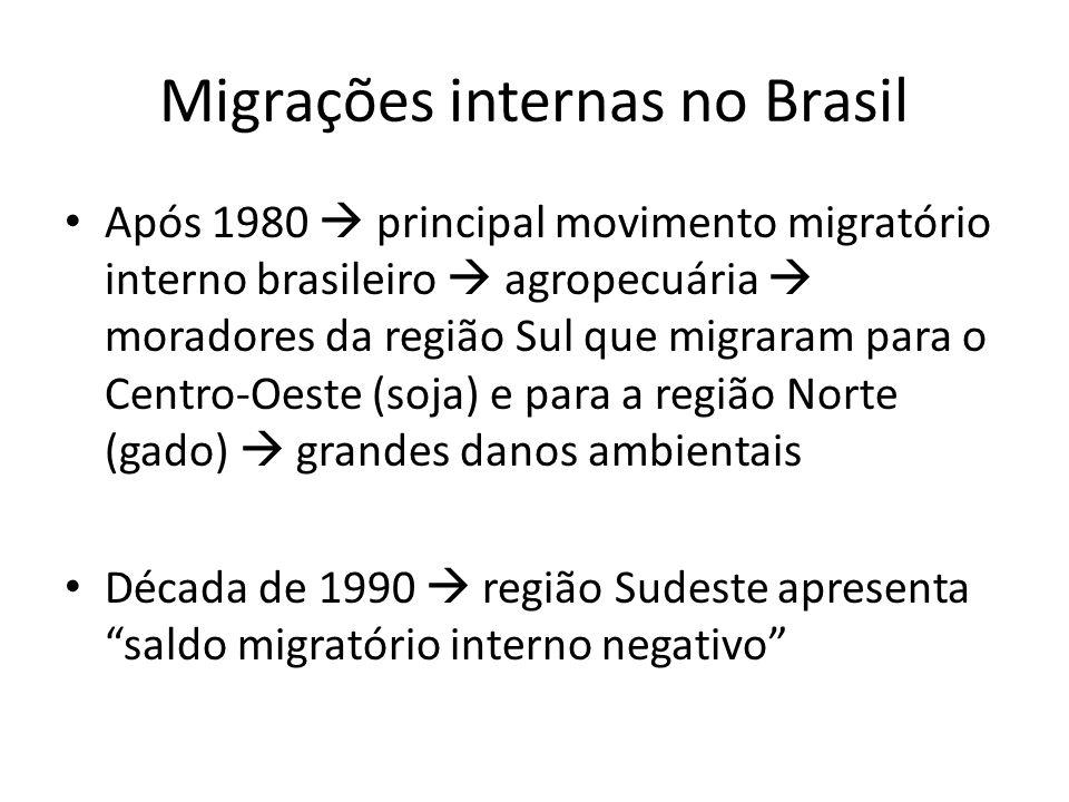 Migrações internas no Brasil Migração rural-urbana urbanização brasileira intensificou-se a partir de 1960, devido a: – Mecanização da agricultura – Concentração fundiária – Falta de política agrária – Falta de incentivos aos produtores rurais – Esperança de melhores condições de vida – Excesso de mão-de-obra (Sul e Sudeste) – Reação dos proprietários rurais ao Estatuto do Trabalhador Rural (1963)