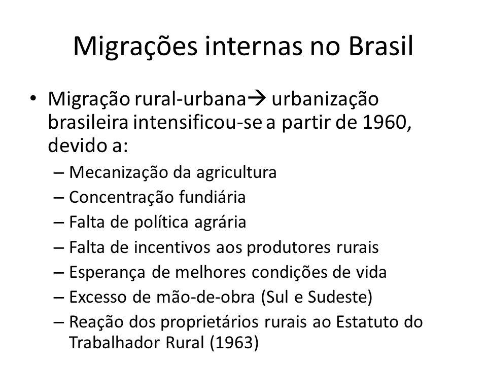Migrações internas no Brasil Migração rural-urbana urbanização brasileira intensificou-se a partir de 1960, devido a: – Mecanização da agricultura – C