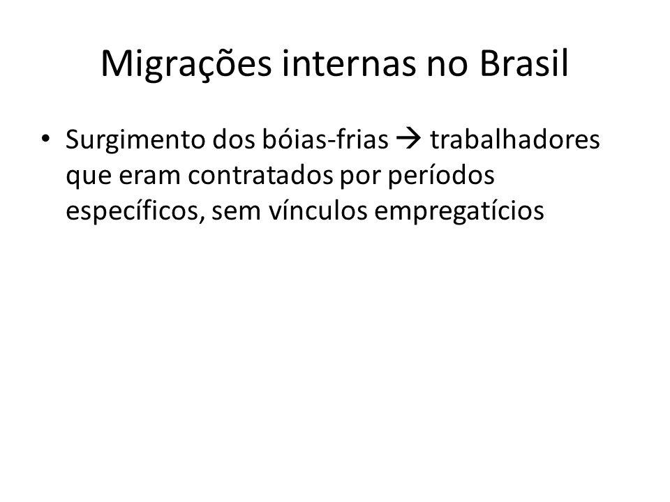 Migrações internas no Brasil Movimentos pendulares movimentos diários, de vai e volta, com os trabalhadores migrando de uma região a outra, diariamente, para trabalharem Cidades dormitórios
