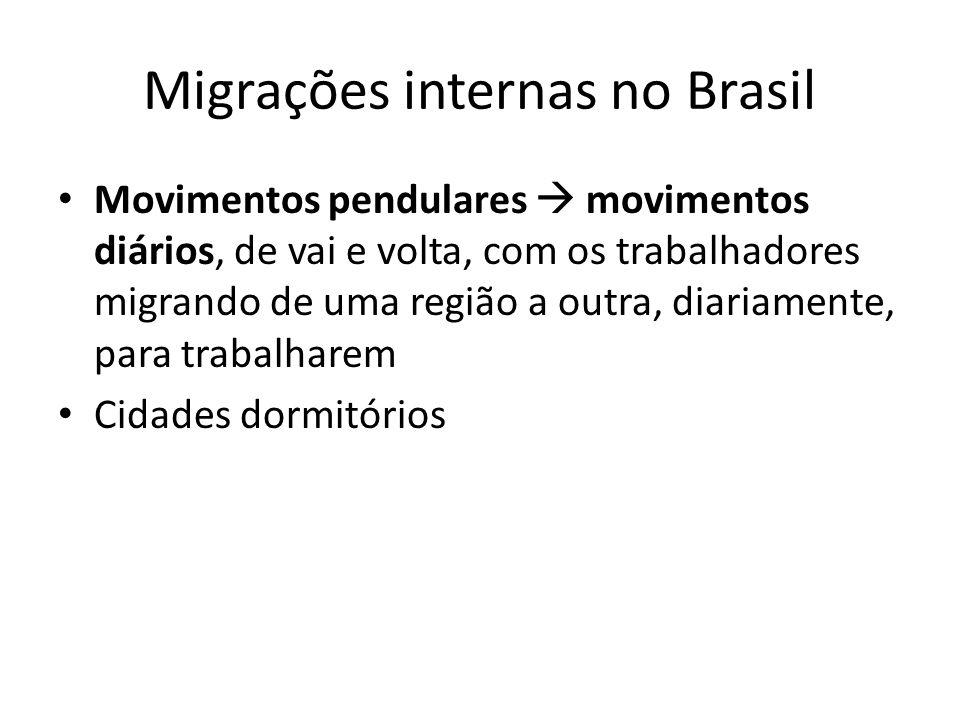 Migrações internas no Brasil Movimentos pendulares movimentos diários, de vai e volta, com os trabalhadores migrando de uma região a outra, diariament