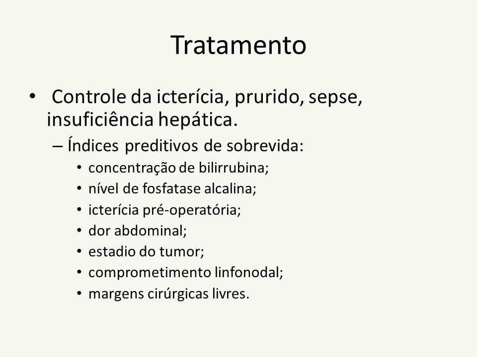 Tratamento Controle da icterícia, prurido, sepse, insuficiência hepática. – Índices preditivos de sobrevida: concentração de bilirrubina; nível de fos