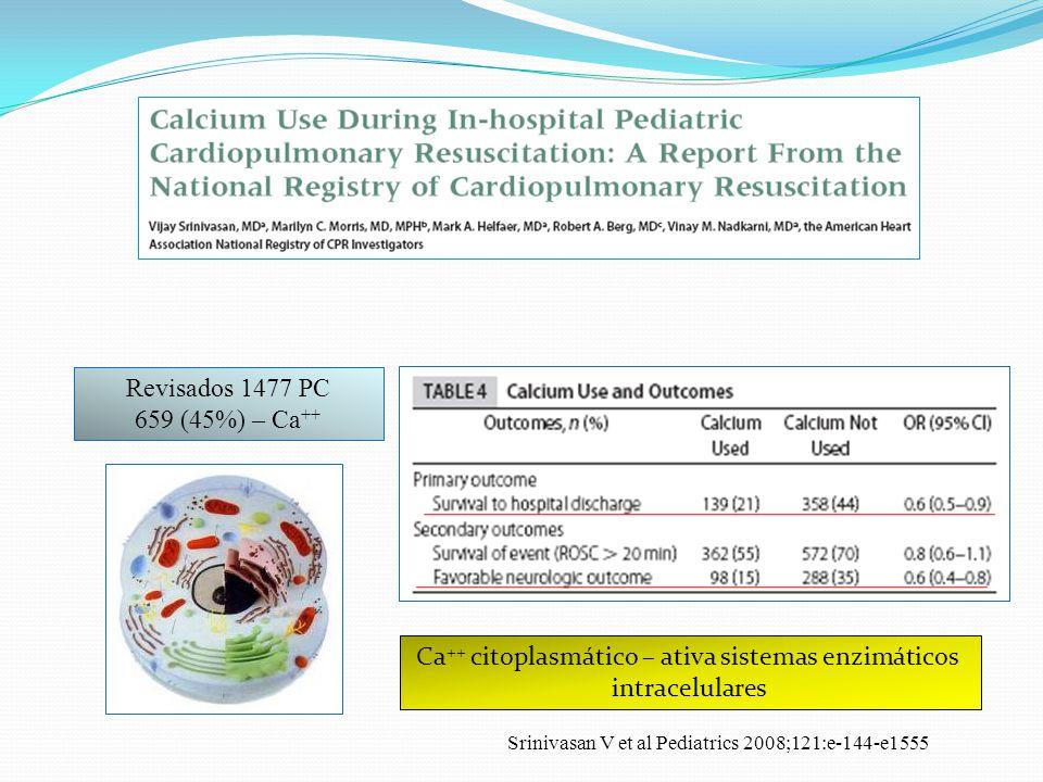 Revisados 1477 PC 659 (45%) – Ca ++ Ca ++ citoplasmático – ativa sistemas enzimáticos intracelulares Srinivasan V et al Pediatrics 2008;121:e-144-e155