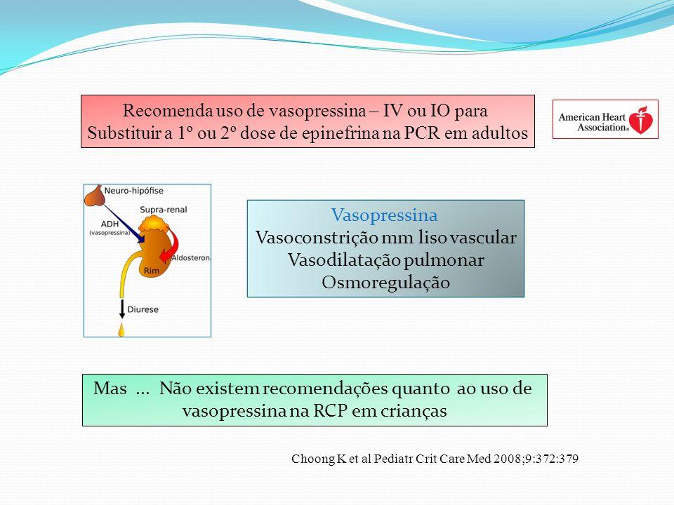 Vasopressina Vasoconstrição mm liso vascular Vasodilatação pulmonar Osmoregulação Recomenda uso de vasopressina – IV ou IO para Substituir a 1º ou 2º