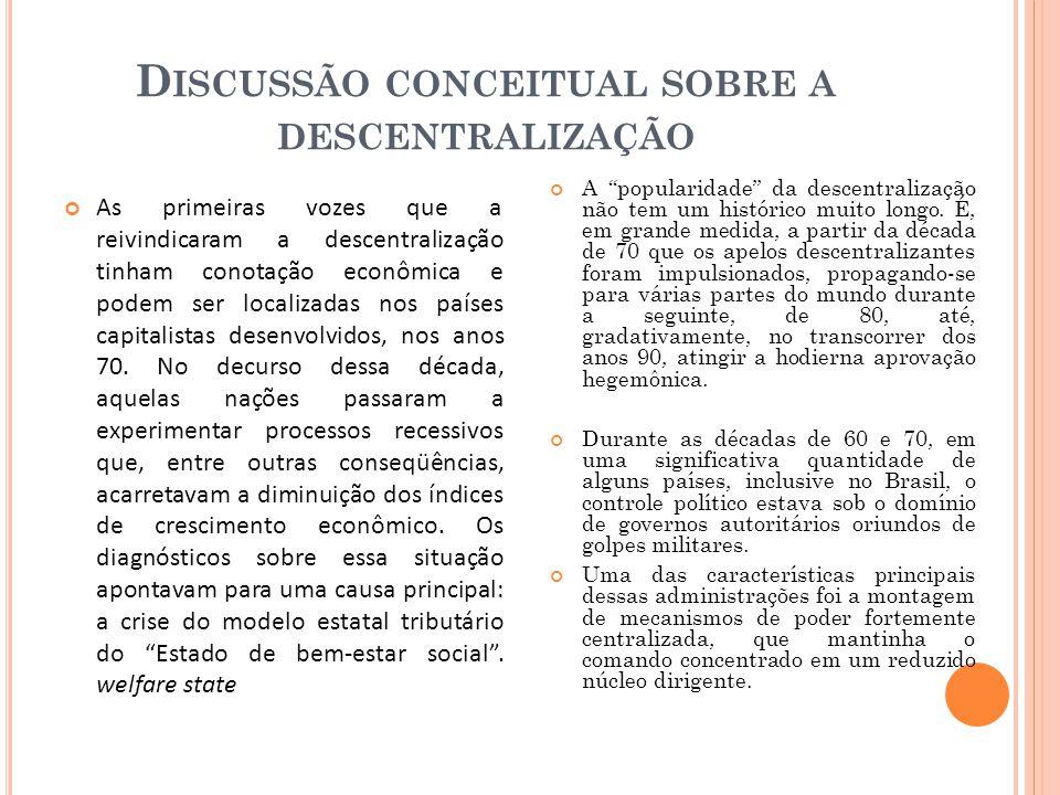 D ISCUSSÃO CONCEITUAL SOBRE A DESCENTRALIZAÇÃO As primeiras vozes que a reivindicaram a descentralização tinham conotação econômica e podem ser localizadas nos países capitalistas desenvolvidos, nos anos 70.