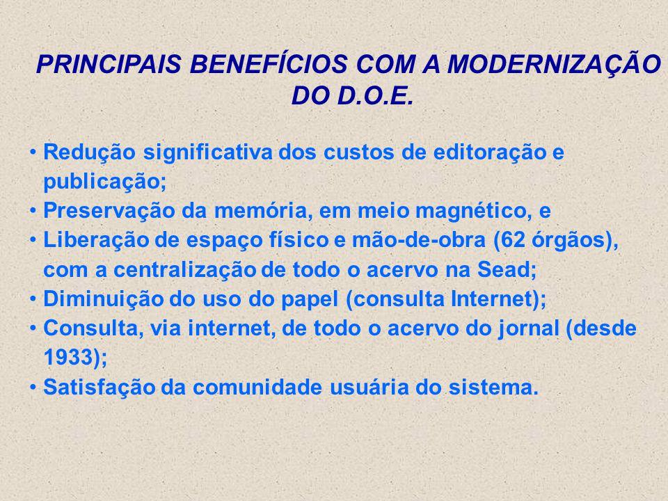 PRINCIPAIS BENEFÍCIOS COM A MODERNIZAÇÃO DO D.O.E. Redução significativa dos custos de editoração e publicação; Preservação da memória, em meio magnét
