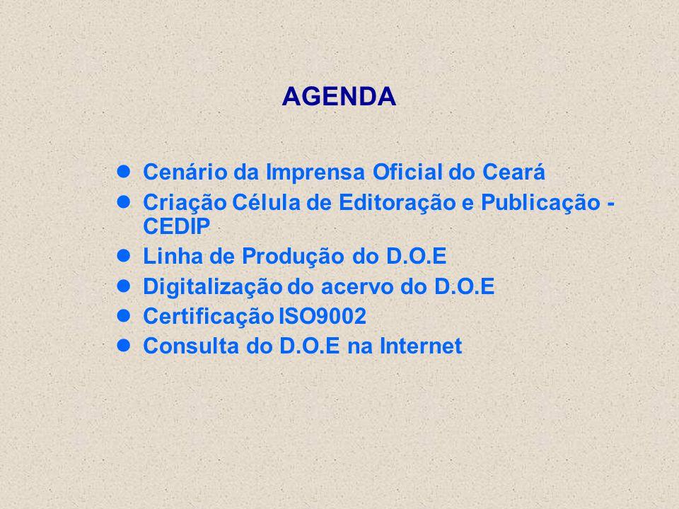 AGENDA Cenário da Imprensa Oficial do Ceará Criação Célula de Editoração e Publicação - CEDIP Linha de Produção do D.O.E Digitalização do acervo do D.