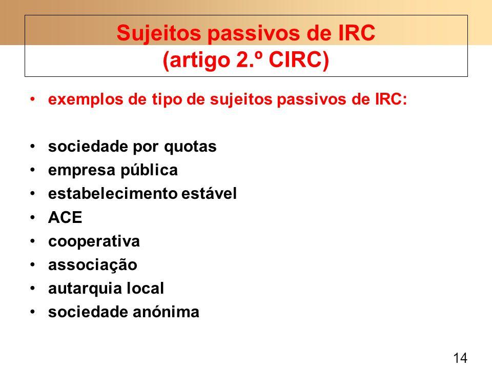 14 exemplos de tipo de sujeitos passivos de IRC: sociedade por quotas empresa pública estabelecimento estável ACE cooperativa associação autarquia loc