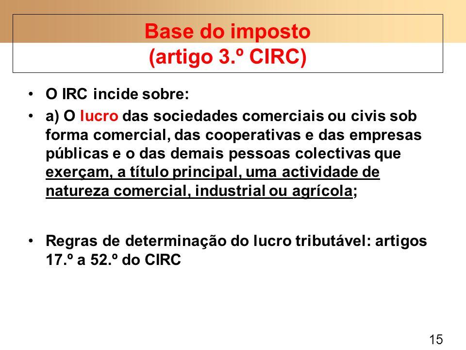 15 O IRC incide sobre: a) O lucro das sociedades comerciais ou civis sob forma comercial, das cooperativas e das empresas públicas e o das demais pess