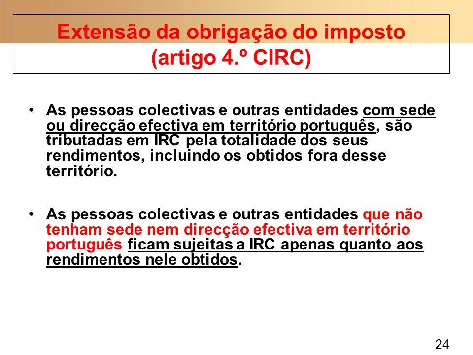 24 As pessoas colectivas e outras entidades com sede ou direcção efectiva em território português, são tributadas em IRC pela totalidade dos seus rendimentos, incluindo os obtidos fora desse território.