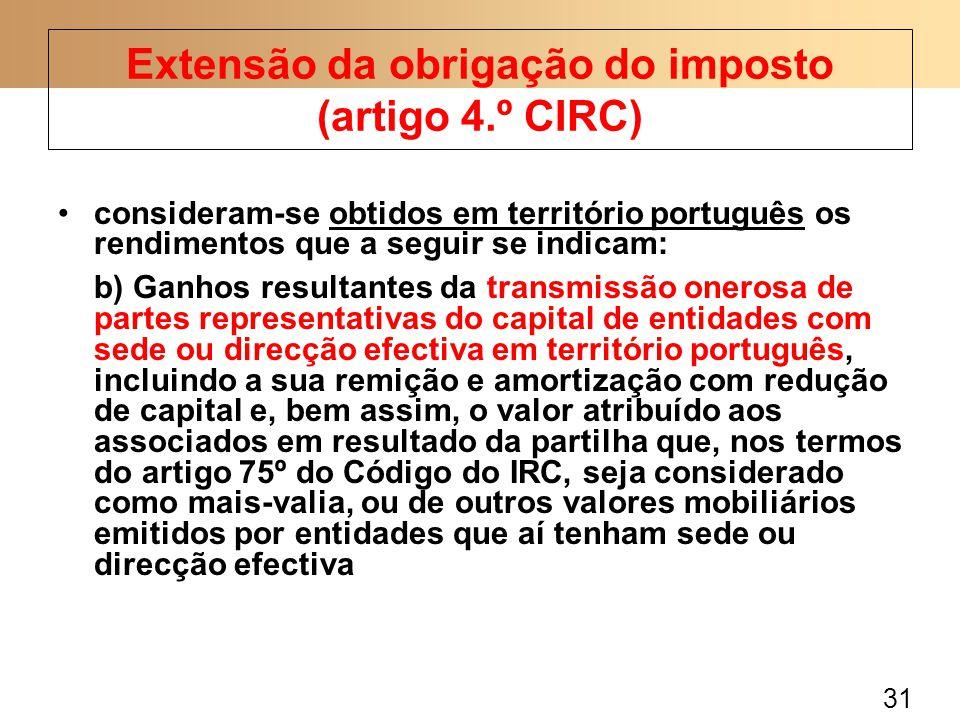 31 consideram-se obtidos em território português os rendimentos que a seguir se indicam: b) Ganhos resultantes da transmissão onerosa de partes repres