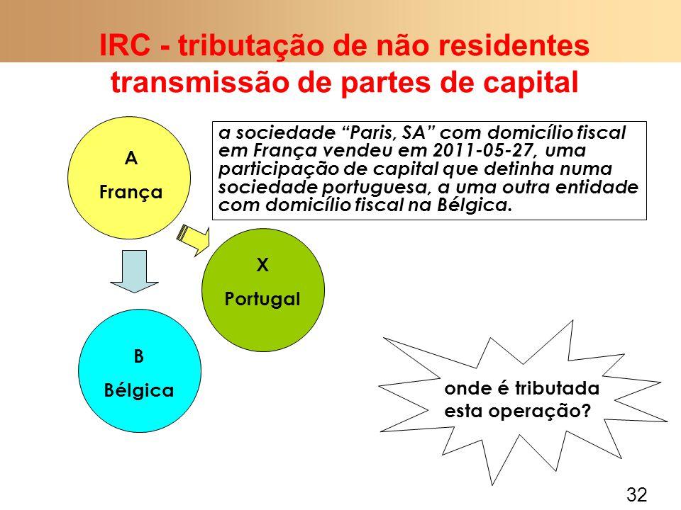 32 IRC - tributação de não residentes transmissão de partes de capital A França B Bélgica a sociedade Paris, SA com domicílio fiscal em França vendeu em 2011-05-27, uma participação de capital que detinha numa sociedade portuguesa, a uma outra entidade com domicílio fiscal na Bélgica.