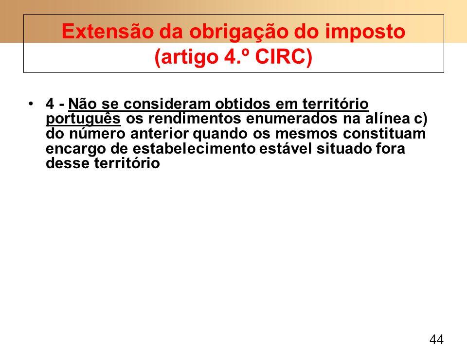44 4 - Não se consideram obtidos em território português os rendimentos enumerados na alínea c) do número anterior quando os mesmos constituam encargo