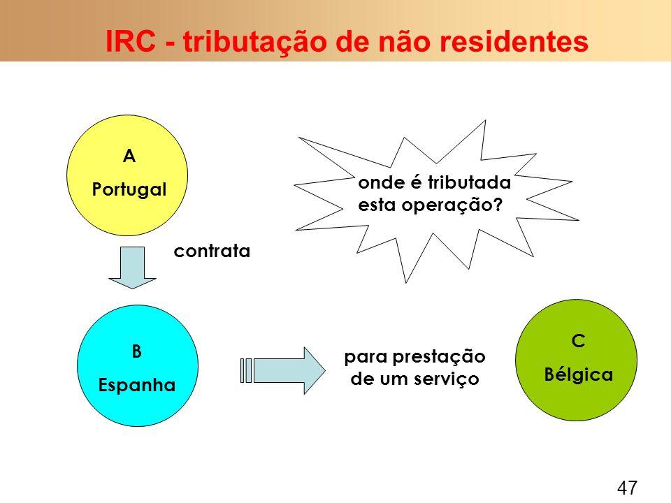 47 IRC - tributação de não residentes A Portugal B Espanha contrata para prestação de um serviço C Bélgica onde é tributada esta operação?