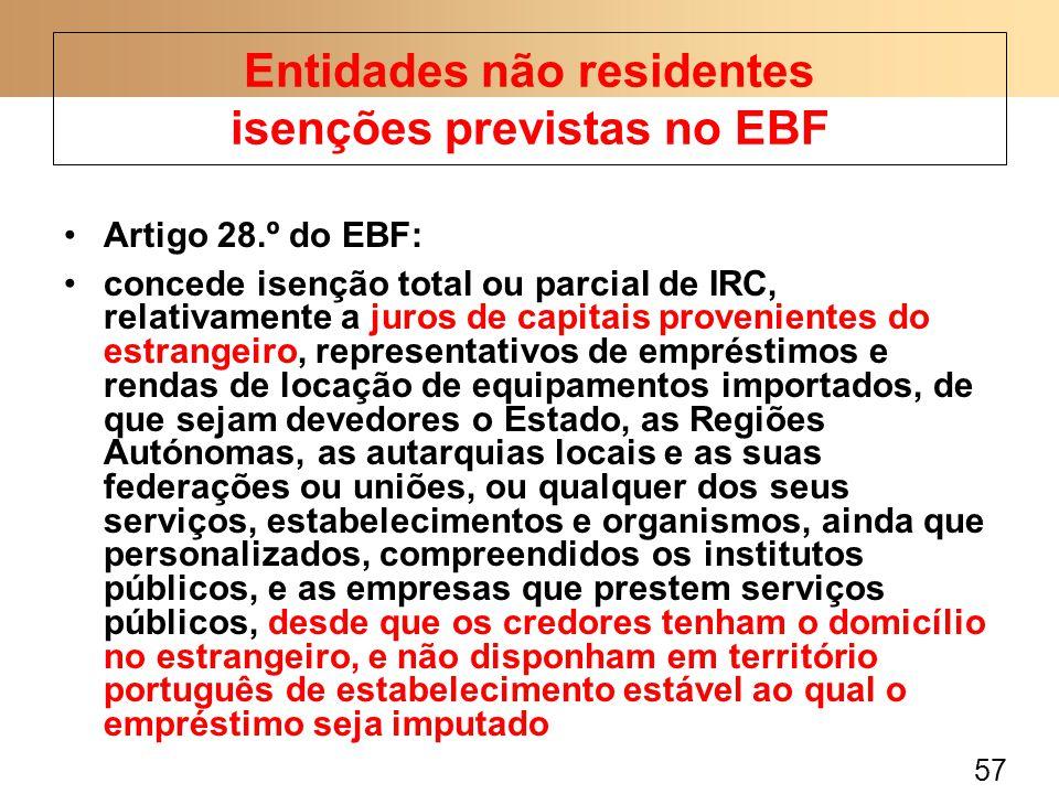 57 Artigo 28.º do EBF: concede isenção total ou parcial de IRC, relativamente a juros de capitais provenientes do estrangeiro, representativos de empr