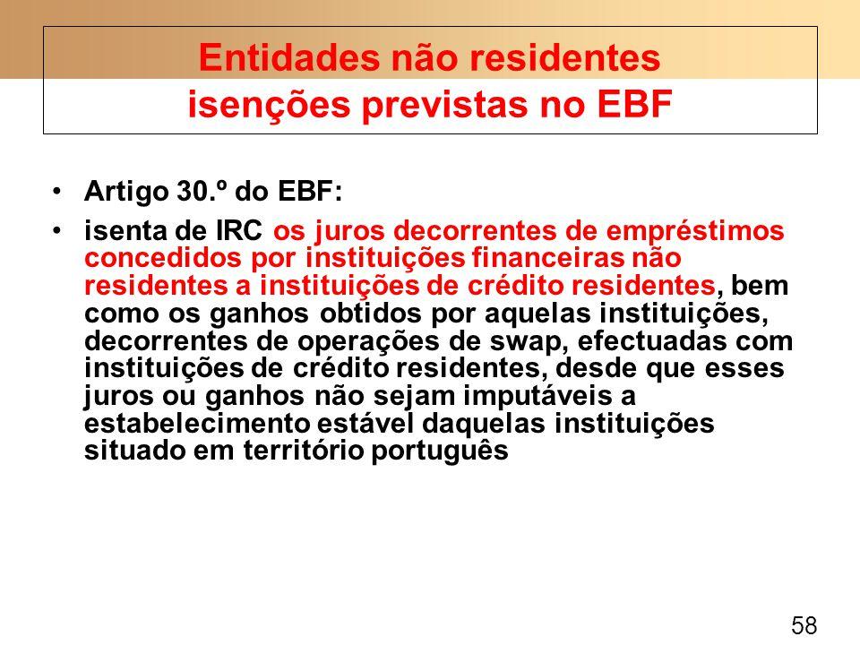 58 Artigo 30.º do EBF: isenta de IRC os juros decorrentes de empréstimos concedidos por instituições financeiras não residentes a instituições de crédito residentes, bem como os ganhos obtidos por aquelas instituições, decorrentes de operações de swap, efectuadas com instituições de crédito residentes, desde que esses juros ou ganhos não sejam imputáveis a estabelecimento estável daquelas instituições situado em território português Entidades não residentes isenções previstas no EBF