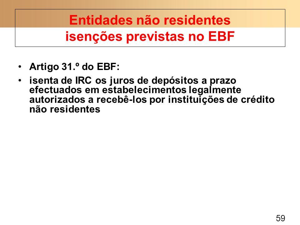 59 Artigo 31.º do EBF: isenta de IRC os juros de depósitos a prazo efectuados em estabelecimentos legalmente autorizados a recebê-los por instituições