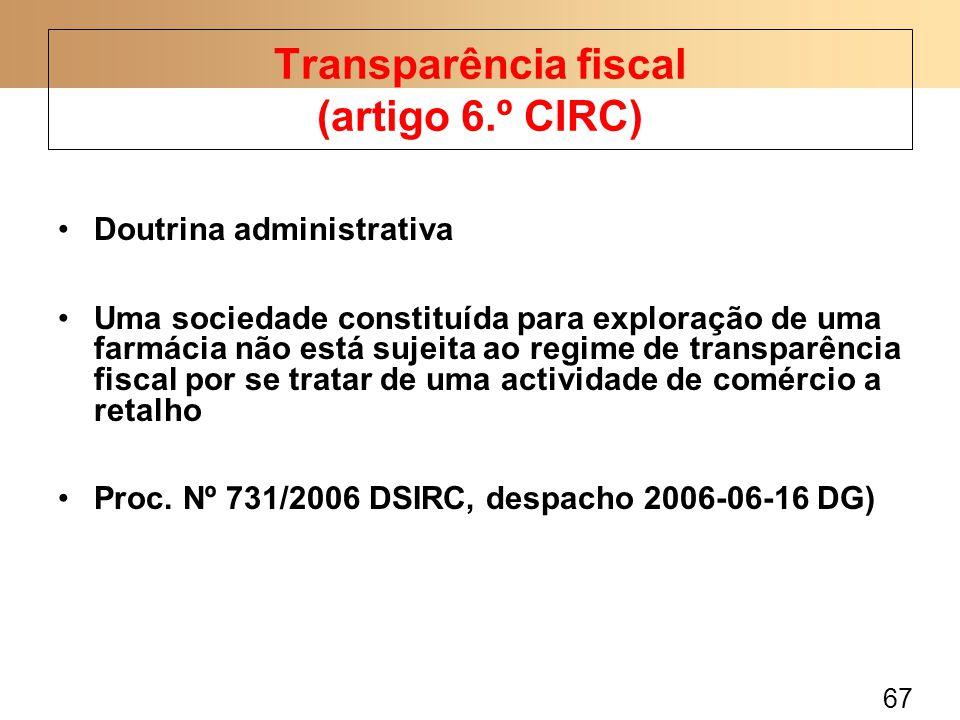 67 Doutrina administrativa Uma sociedade constituída para exploração de uma farmácia não está sujeita ao regime de transparência fiscal por se tratar de uma actividade de comércio a retalho Proc.