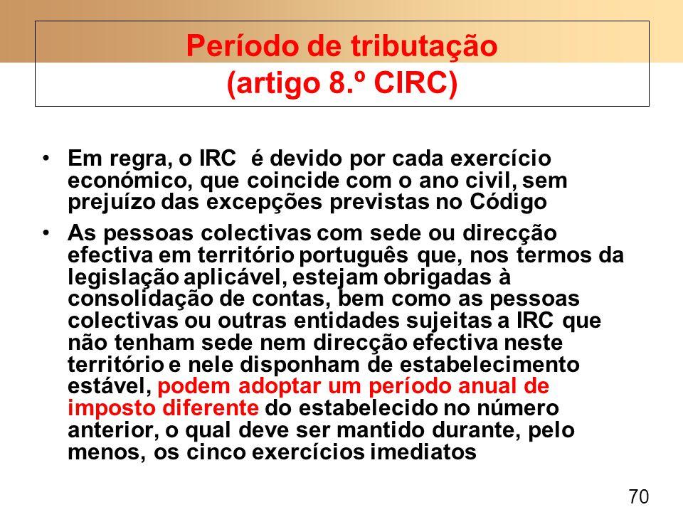 70 Em regra, o IRC é devido por cada exercício económico, que coincide com o ano civil, sem prejuízo das excepções previstas no Código As pessoas cole