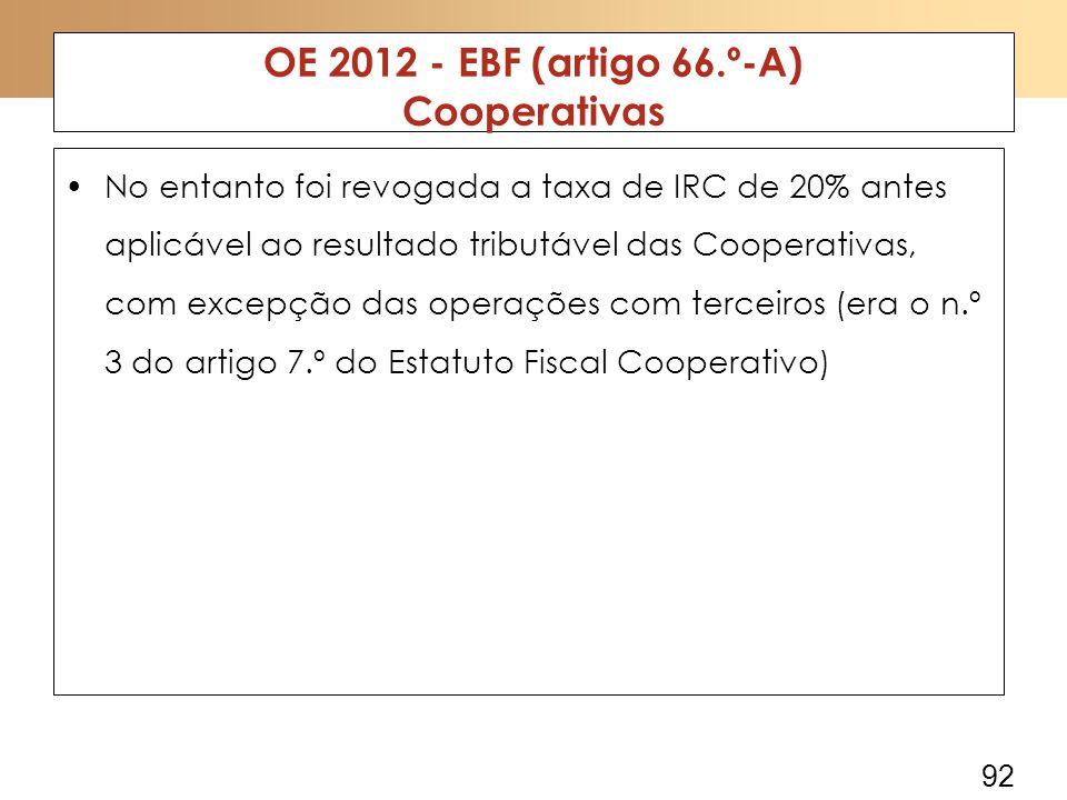 92 OE 2012 - EBF (artigo 66.º-A) Cooperativas No entanto foi revogada a taxa de IRC de 20% antes aplicável ao resultado tributável das Cooperativas, com excepção das operações com terceiros (era o n.º 3 do artigo 7.º do Estatuto Fiscal Cooperativo)
