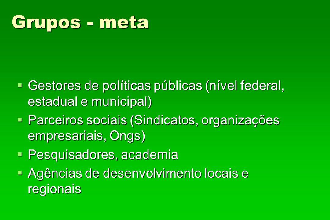 Grupos - meta Gestores de políticas públicas (nível federal, estadual e municipal) Gestores de políticas públicas (nível federal, estadual e municipal