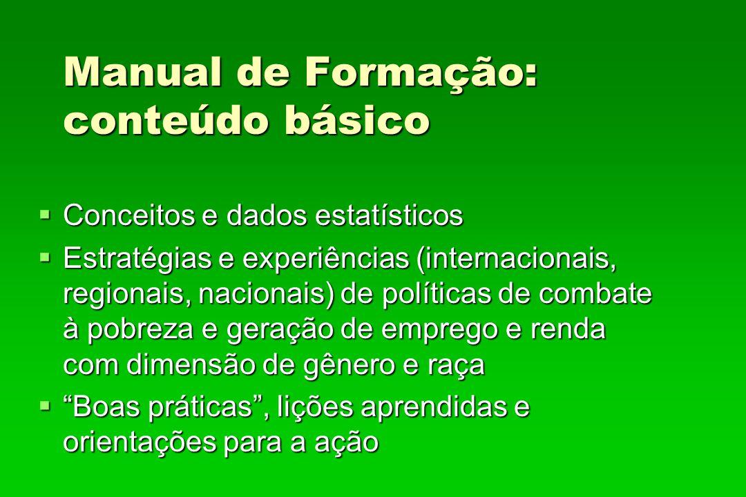 Manual de Formação: conteúdo básico Conceitos e dados estatísticos Conceitos e dados estatísticos Estratégias e experiências (internacionais, regionai