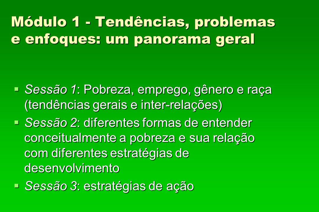 Módulo 1 - Tendências, problemas e enfoques: um panorama geral Sessão 1: Pobreza, emprego, gênero e raça (tendências gerais e inter-relações) Sessão 1