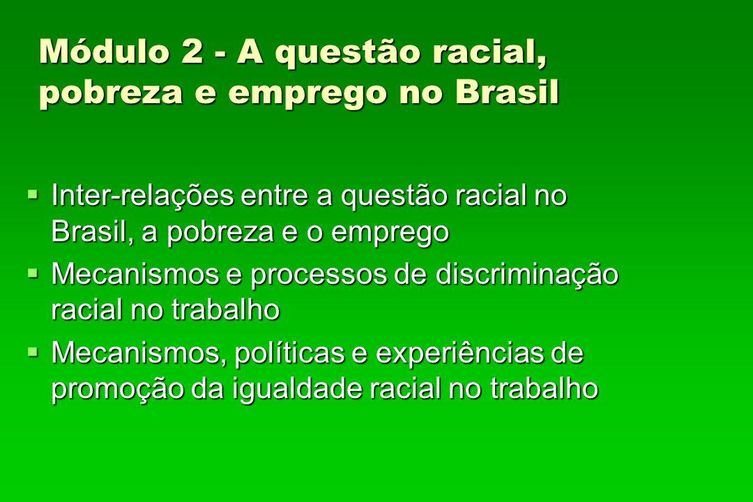 Módulo 2 - A questão racial, pobreza e emprego no Brasil Inter-relações entre a questão racial no Brasil, a pobreza e o emprego Inter-relações entre a