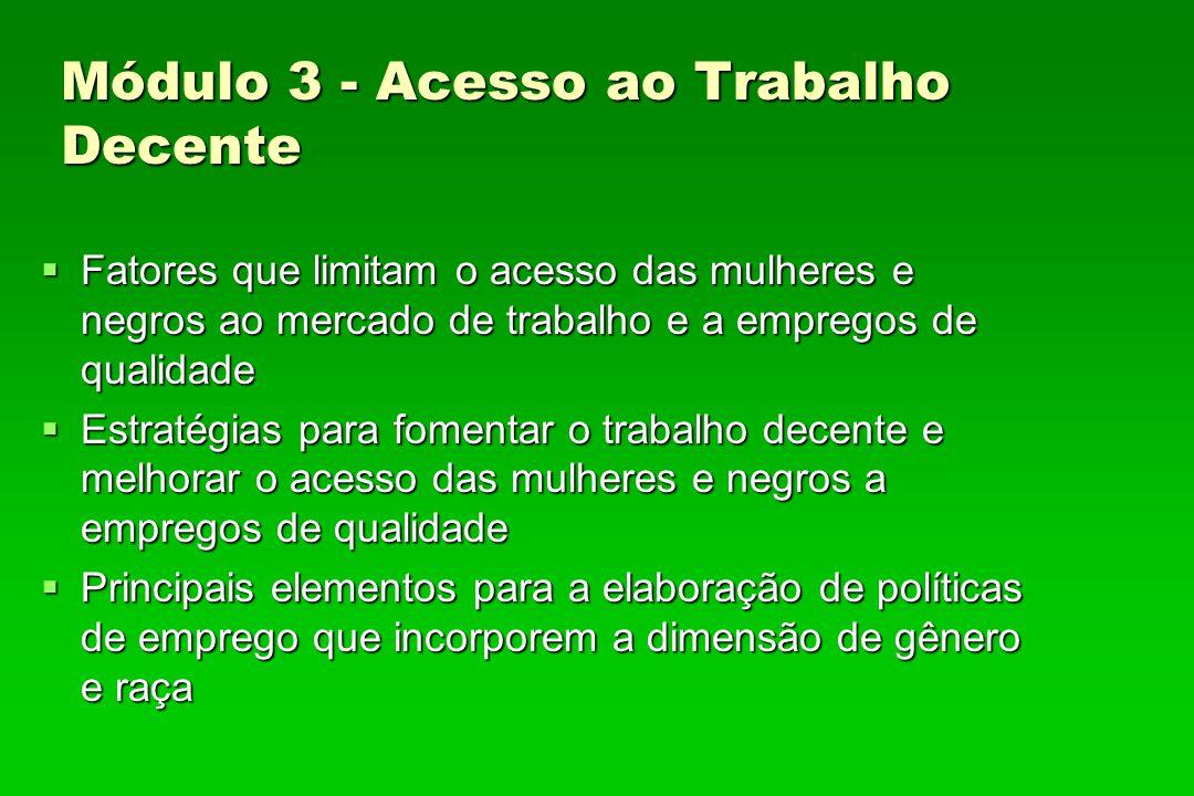 Módulo 3 - Acesso ao Trabalho Decente Fatores que limitam o acesso das mulheres e negros ao mercado de trabalho e a empregos de qualidade Fatores que