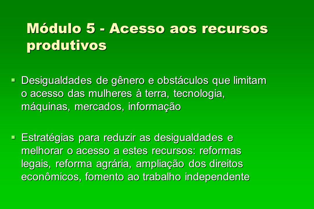Módulo 5 - Acesso aos recursos produtivos Desigualdades de gênero e obstáculos que limitam o acesso das mulheres à terra, tecnologia, máquinas, mercad