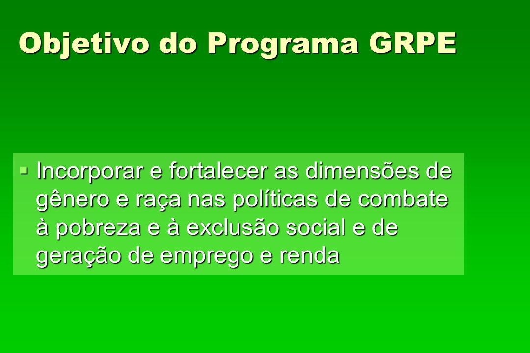 Objetivo do Programa GRPE Incorporar e fortalecer as dimensões de gênero e raça nas políticas de combate à pobreza e à exclusão social e de geração de