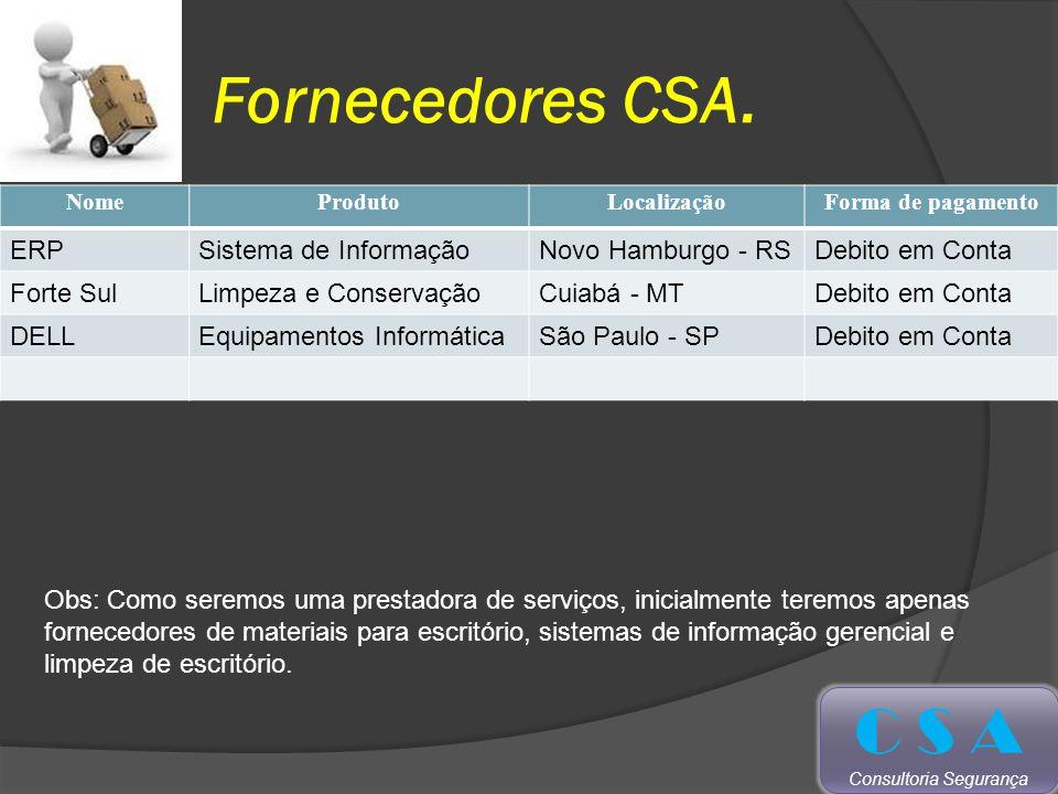 Fornecedores CSA.
