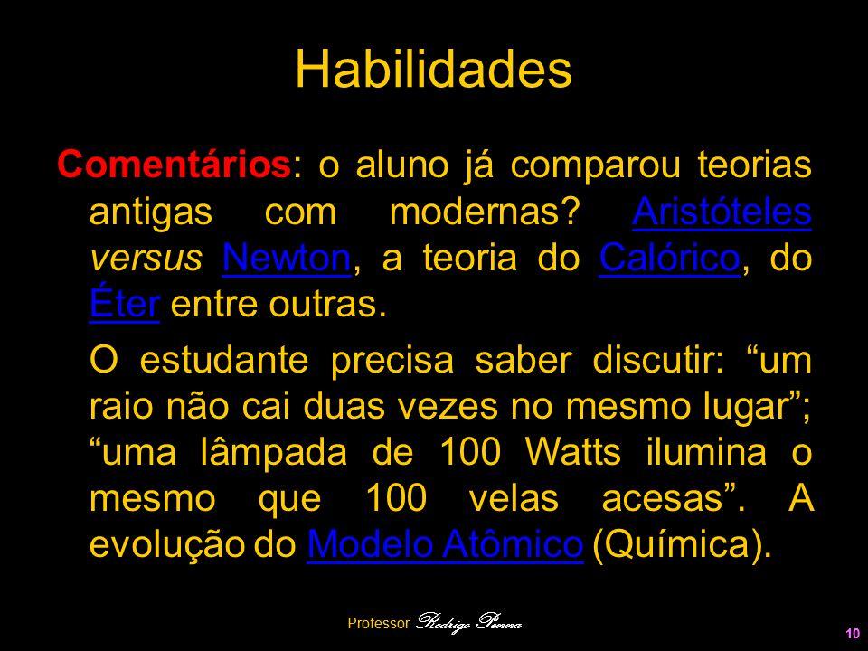 Professor Rodrigo Penna 10 Habilidades Comentários: o aluno já comparou teorias antigas com modernas? Aristóteles versus Newton, a teoria do Calórico,
