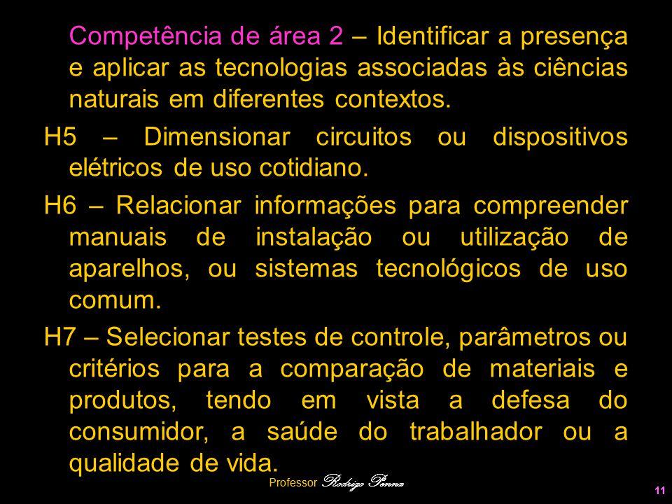 Professor Rodrigo Penna 11 Competência de área 2 – Identificar a presença e aplicar as tecnologias associadas às ciências naturais em diferentes conte