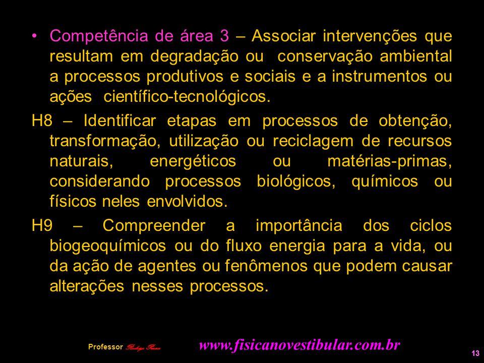 13 Competência de área 3 – Associar intervenções que resultam em degradação ou conservação ambiental a processos produtivos e sociais e a instrumentos