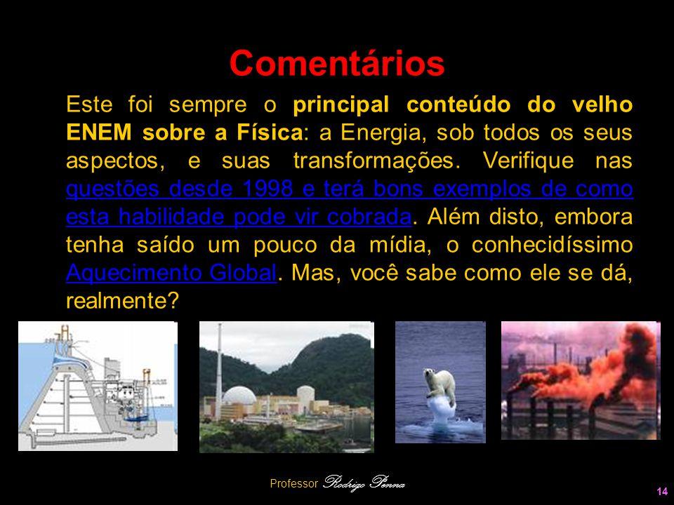 Professor Rodrigo Penna 14 Comentários Este foi sempre o principal conteúdo do velho ENEM sobre a Física: a Energia, sob todos os seus aspectos, e sua