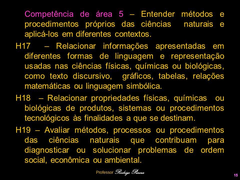 Professor Rodrigo Penna 15 Competência de área 5 – Entender métodos e procedimentos próprios das ciências naturais e aplicá-los em diferentes contexto