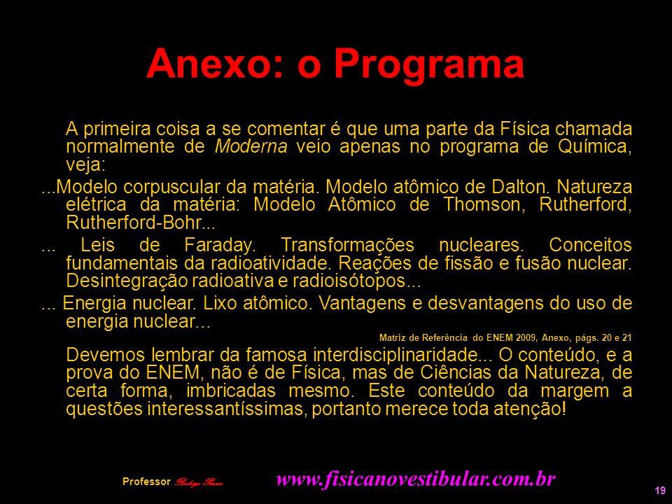 19 Anexo: o Programa A primeira coisa a se comentar é que uma parte da Física chamada normalmente de Moderna veio apenas no programa de Química, veja: